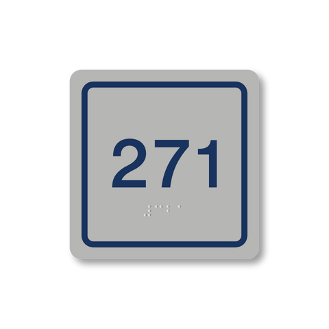 Primary Series - Square Room Number (Vintage Silver/Airforce Blue)