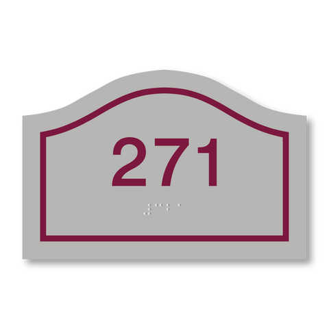 Primary Series - Curve Room Number (Vintage Silver/Burgundy)