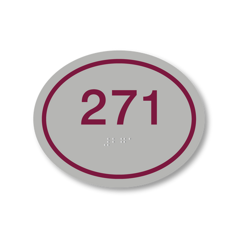 Primary Series - Oval Room Number (Vintage Silver/Burgundy)
