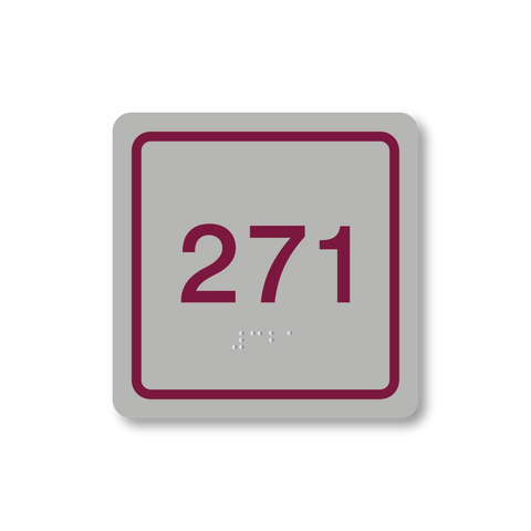 Primary Series - Square Room Number (Vintage Silver/Burgundy)