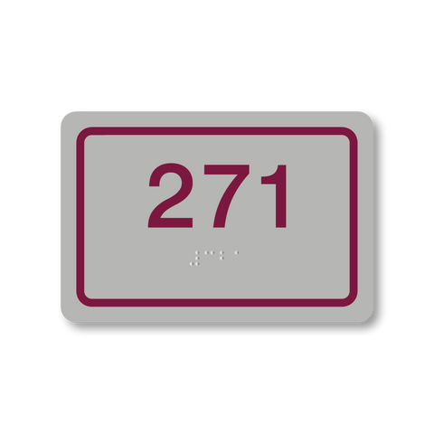 Primary Series - Rectangle Room Number (Vintage Silver/Burgundy)