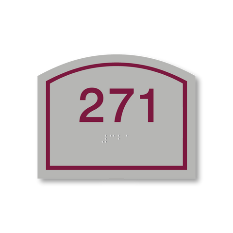 Primary Series - Arch  Room Number (Vintage Silver/Burgundy)