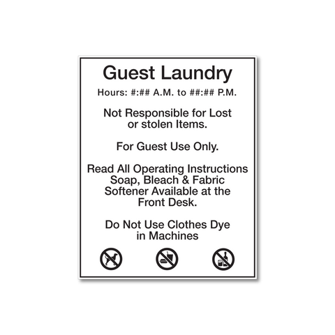 Best Western Guest Laundry Rules