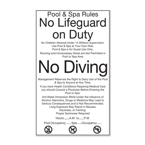 Best Western Pool & Spa Rules