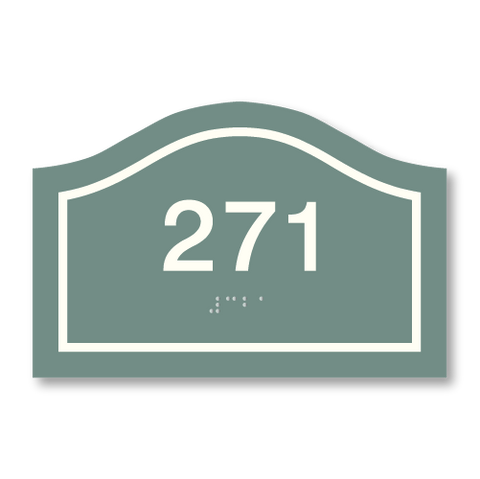 Primary - Curve Room Number  (Sea Grey & White)