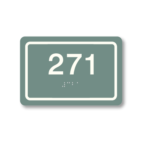 Primary - Rectangle Room Number  (Sea Grey & White)