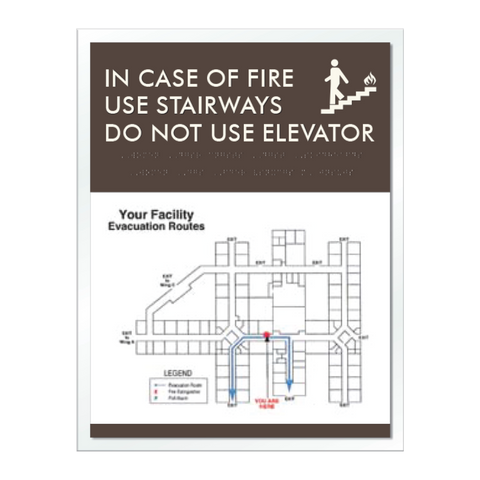 Elevator Fire Evacuation-Only available when ordering a full sign package. Layout fees may apply.