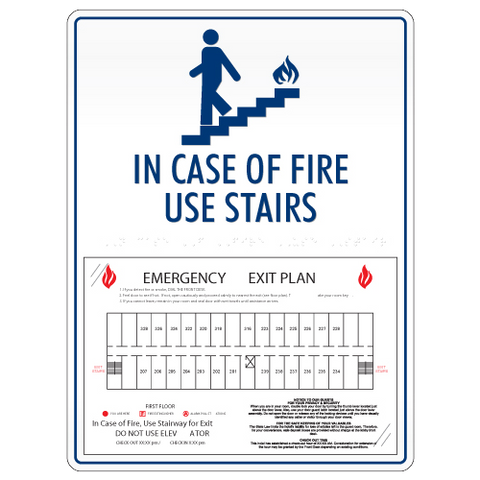 In Case of Fire w/Evac Route-Only available when ordering a full sign package. Layout fees may apply.