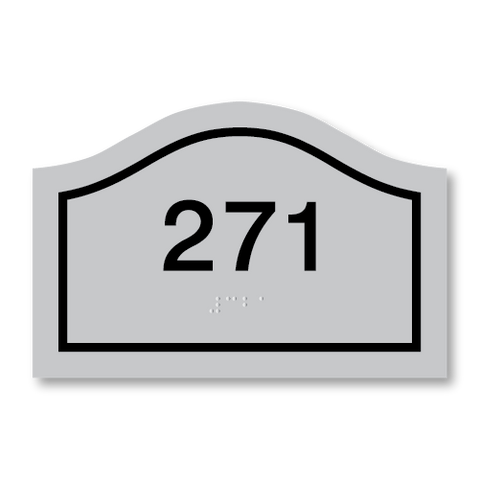 Primary - Curve Room Number  (Vintage Silver & Black)