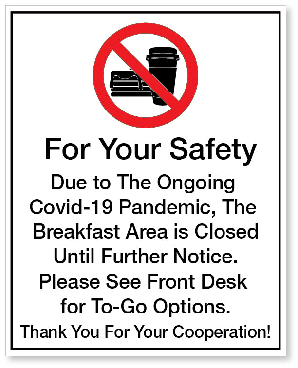 Covid-19 Breakfast Rules Sign