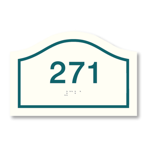 Primary - Curve Room Number  (White & Teal)