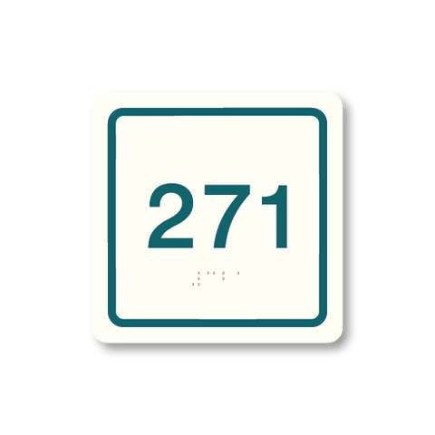 Primary - Square Room Number  (White & Teal)