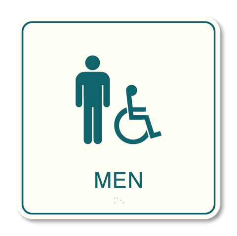 Primary - Restroom Men ISA  (White & Teal)