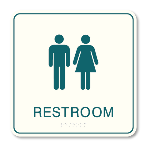Primary - Restroom  (White & Teal)