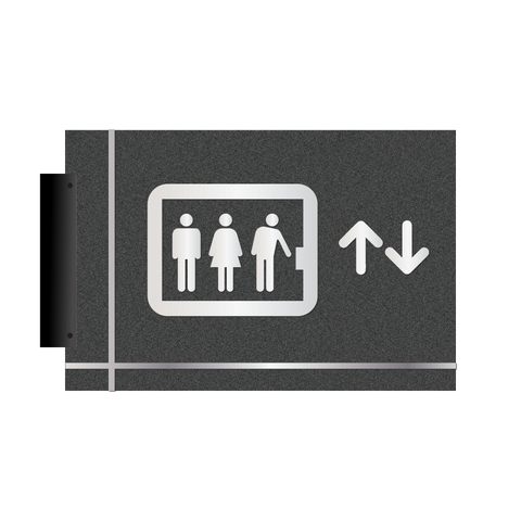 Grid - Flag Pictogram Elevator (Graphite/Silver)