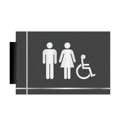 Grid - Flag Pictogram Restroom (Graphite/Silver)