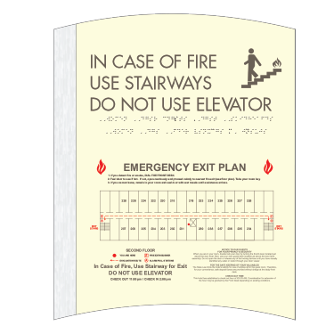 Elevator Fire Evacuation Sign-Only available when ordering a full sign package. Layout fees may apply.