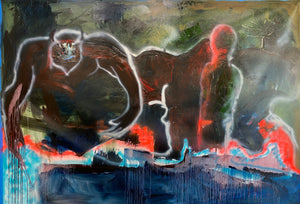 """The Beast"" 68""X96"" Oil on Canvas, Signed, 2020"