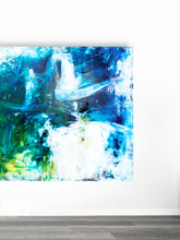 "Load image into Gallery viewer, ""Oil and Water"" mixed media on linen"