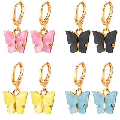 BFH New Fashion Small Butterfly Drop Earrings for Women 2020 Animal Lovely Sweet Colorful Acrylic Earrings Female Party Jewelry