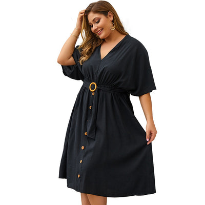 Autumn Women  Dress Full Sleeve Sexy V neck Pure Elegant Party Dresses