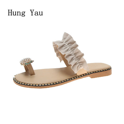 Women's String Bead Flat Shoes