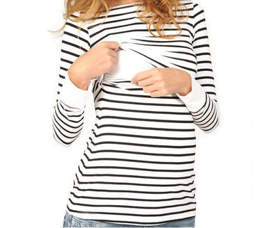 Spring Round Neck Striped Long Sleeves Nursing Top