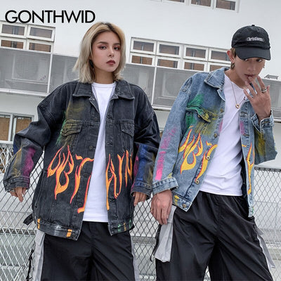 Rainbow Graffiti Fire Flame Print Denim Jacket