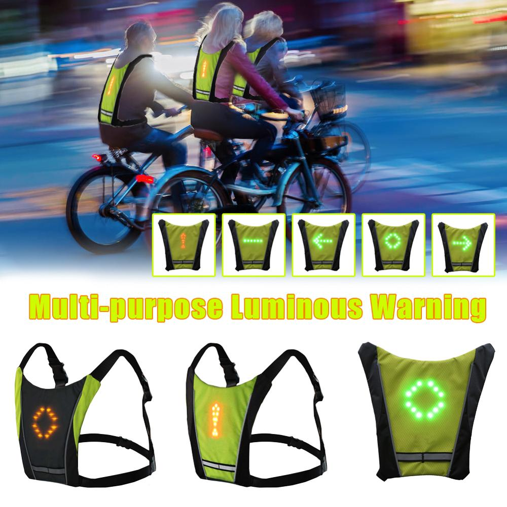 New 2020 LED Wireless cycling vest 20L MTB bike bag Safety LED Turn Signal Light Vest Bicycle Reflective Warning Vests with remo