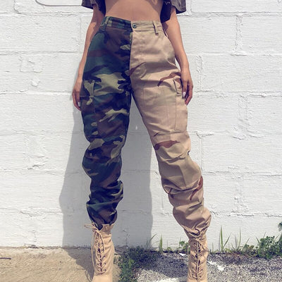 Darlingaga Streetwear Patchwork Camouflage Cargo Pants Women Pockets Fashion 2020 Trousers Capri Military Camo High Waist Pants