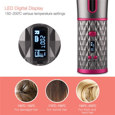 Automatic Rechargeable Cordless Hair Curler iron USB  & LCD Display