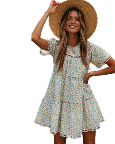 Short sleeve casual summer 2020 floral mini woman dress vestidos robe femme flower ladies dresses sundress womens clothing new