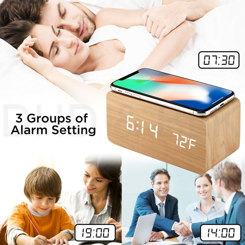 LED Electric Alarm Clock W/ Qi Wireless Phone Charger Charging Pad Station