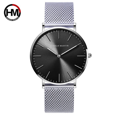 HANNAH MARTIN Watches Luxury Brand Men Simple Quartz Watch Stainless Steel Mesh Band