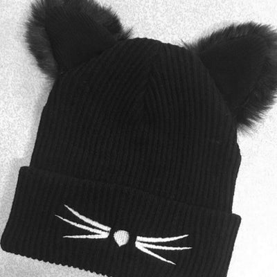 Warm Winter Hat For Women Wool Knitted Cat Ears