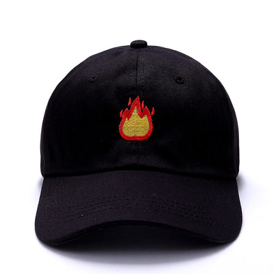 Women Men Baseball Cap with FIRE Embroidery  Black Caps