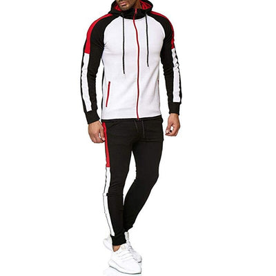 Casual Men Hoodie Polyester Jacket  Pants Tracksuit