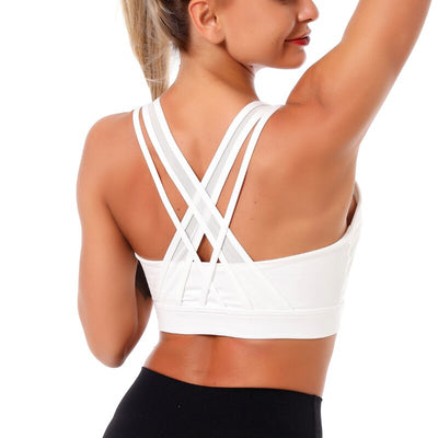 Kaminsky Women Push Up Sexy Back Sport Gathered Bra Female Running Workout Bra Fitness High Elastic Shockproof For Training Vest