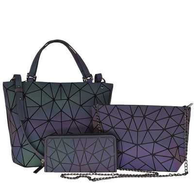 Women Reflective Holographic Geometric Luminous 3 Pieces Crossbody Purse Handbag and Wallet