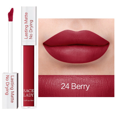 SACE LADY Long Lasting Lipstick Make Up Matte Liquid Lip Stick Non Drying Makeup Nude Red Pigment Waterproof 23 Colors Cosmetic