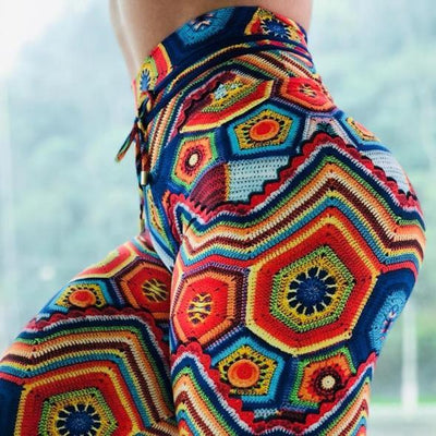 High Waist Designer Crochet Knit Print Push Up Leggings