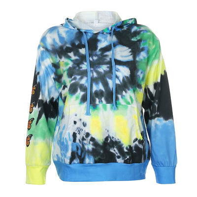 Darlingaga Streetwear Butterfly Print Tie Dye Tracksuit Women 2 Piece Set Fashion Hoodie and Sweatpants Matching Sets Sportswear
