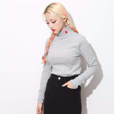 Women Heart Pulse Long Sleeved Pull Turtle Neck Style