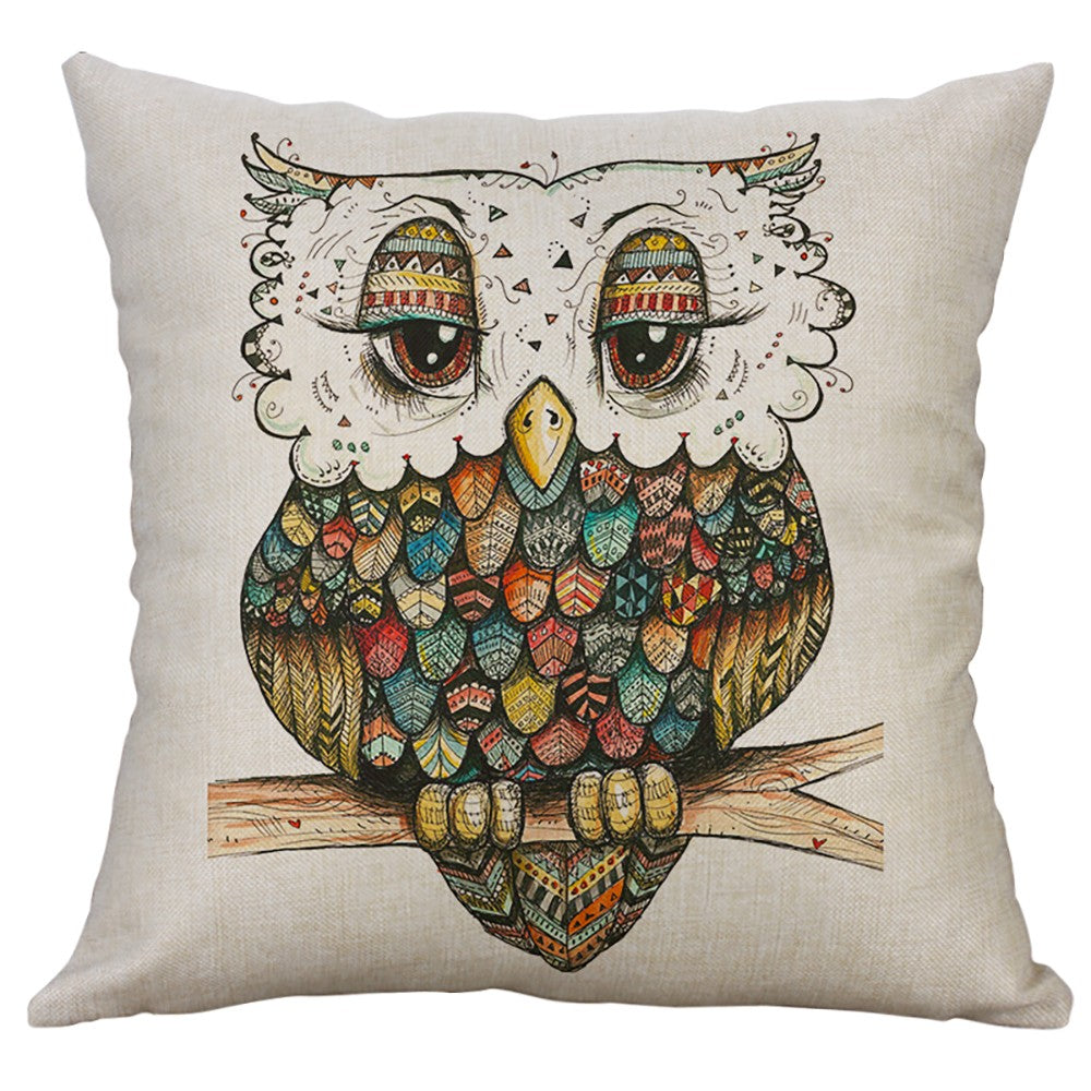 Simple Linen pillow case Lovely owl animal Cute Home Decorative Throw Pillowcase Cover
