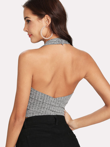 Tie Front Ribbed Halter Top