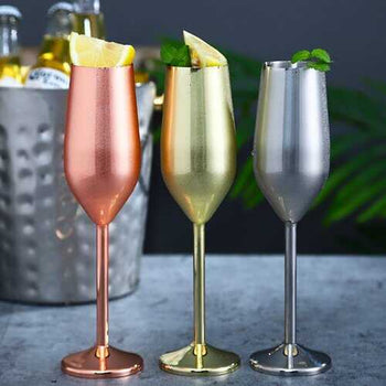 Happiest Hours Cocktail Glasses Let The Party Begin - Color: Silvery Champagne Flute  Pair