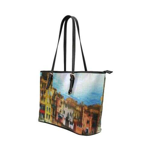 Colorful Architecture Style Shoulder Tote Bag