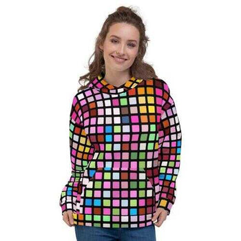 Womens Colorful Cube Style Pullover Hoodie