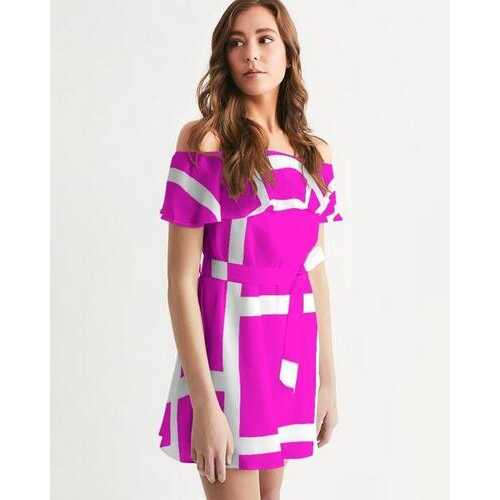 Womens Dress, Pink And White Geometric Style Off-Shoulder Dress