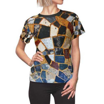 Womens Shirts, Abstract Mosaic Style Top